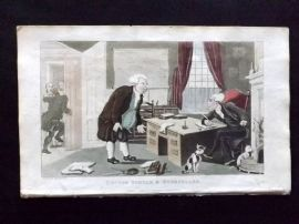 Rowlandson Doctor Syntax 1820 Hand Col Print. Doctor Syntax & Bookseller